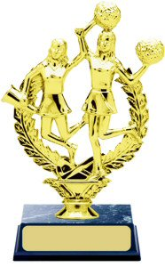 Double Cheerleader Wreath Trophy