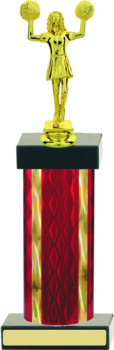 Diamond Hologram Wide Column Cheerleading Trophy