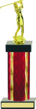 Diamond Hologram Wide Column Golf Trophy