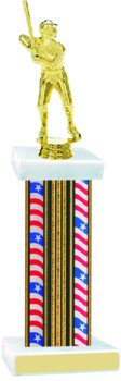 Flag Series Wide Column Baseball Trophy
