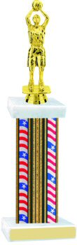 Flag Series Wide Column Basketball Trophy