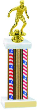 Flag Series Wide Column Soccer Trophy with Trim