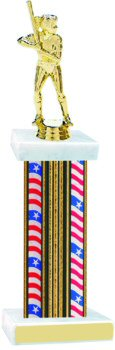 Flag Series Wide Column Softball Trophy