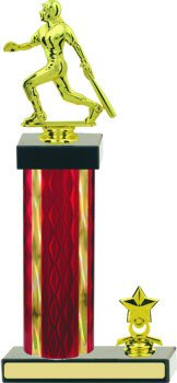 Diamond Hologram Wide Column Softball Trophy with Trim