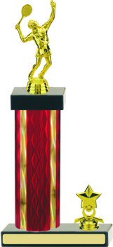 Diamond Hologram Tennis Trophy with Trim