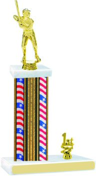 Flag Series Wide Column Baseball Trophy with Trim